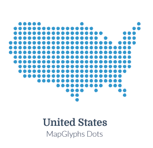 MapGlyphs Dots United States Map Glyphs - Map of us blue